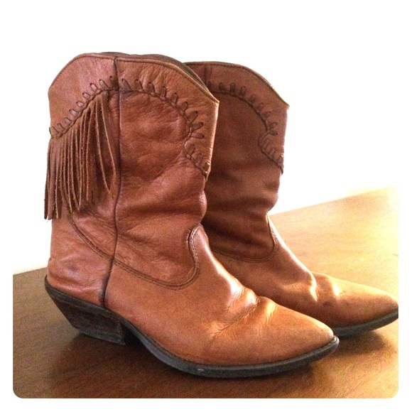 e6c7ff413a6 Zodiac Fringe Fringed Brown Leather Cowboy Boots
